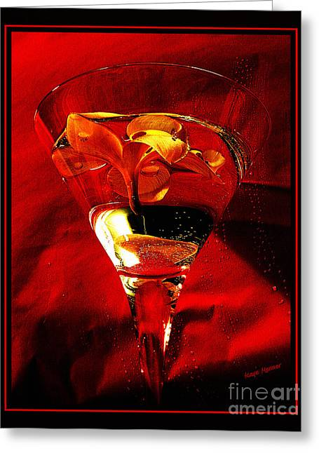 Wine-glass Greeting Cards - Fun in a Glass Greeting Card by Kaye Menner
