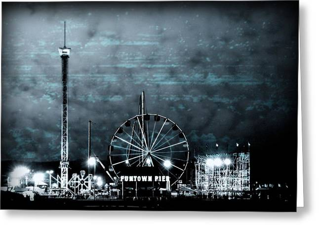Amusement Ride Greeting Cards - Fun in The Dark - Jersey Shore Greeting Card by Angie Tirado