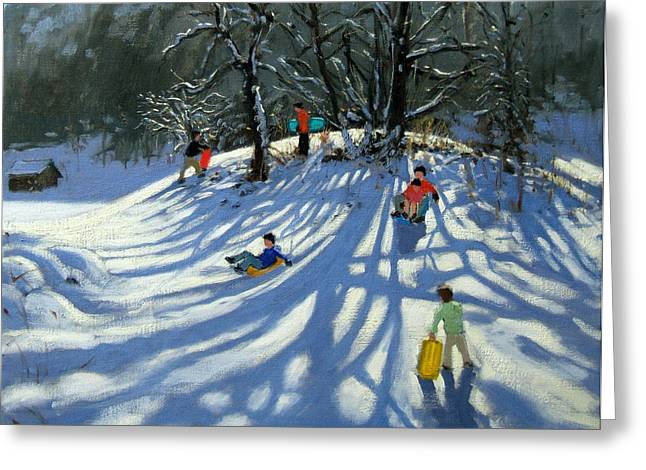 Mountain Valley Greeting Cards - Fun in the Snow Greeting Card by Andrew Macara