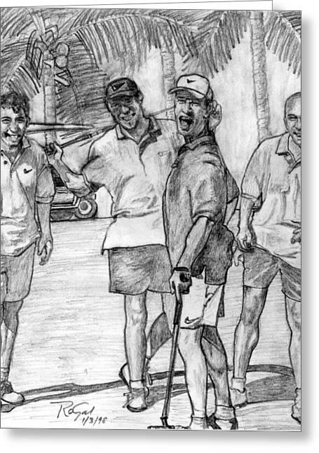 Polo Shirts Greeting Cards - Fun N Golf Pencil Portrait Greeting Card by Romy Galicia