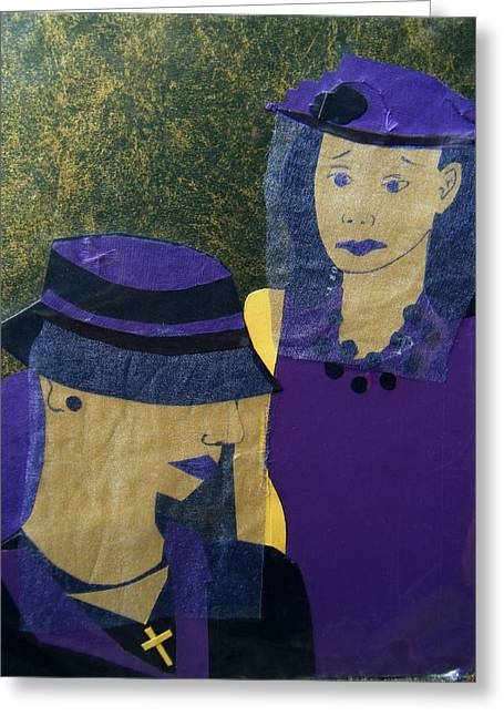 Concern Mixed Media Greeting Cards - Funeral Masks Greeting Card by Debra Bretton Robinson