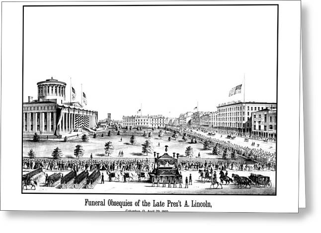 Proclamation Drawings Greeting Cards - Funeral Obsequies Of President Lincoln Greeting Card by War Is Hell Store