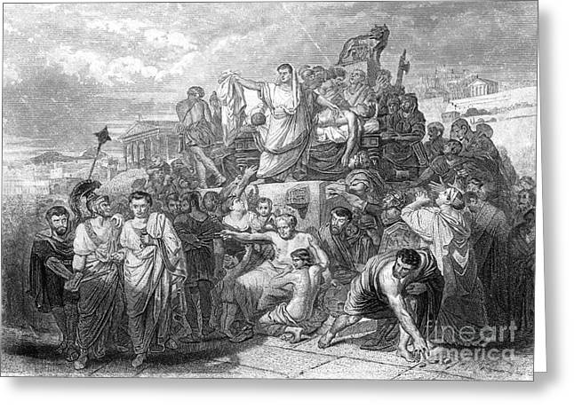 Mark I Greeting Cards - Funeral Of Julius Caesar, 44 Bc Greeting Card by Photo Researchers