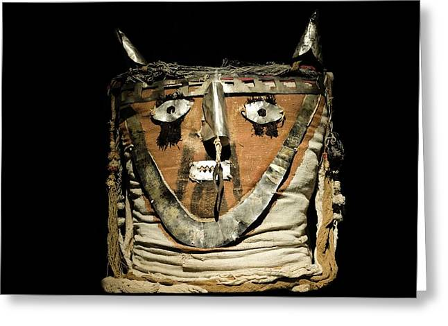 1300s Greeting Cards - Funerary Bundle Head, Chancay Imperial Greeting Card by Tony Camacho