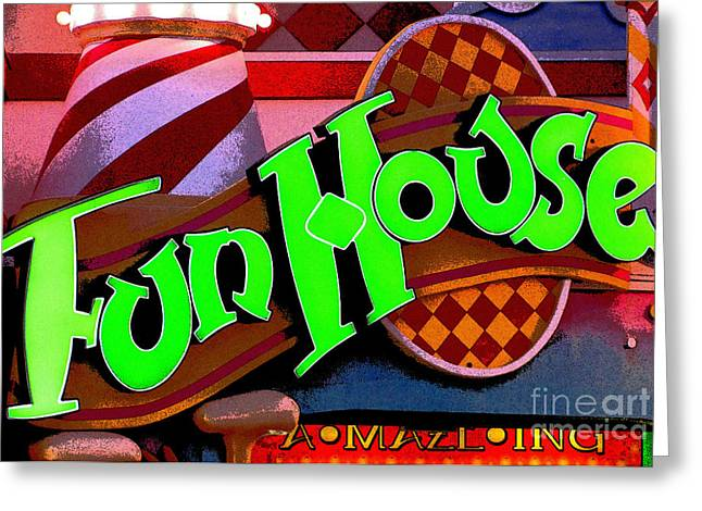 Fun Digital Art Greeting Cards - FunHouse Greeting Card by Colleen Kammerer