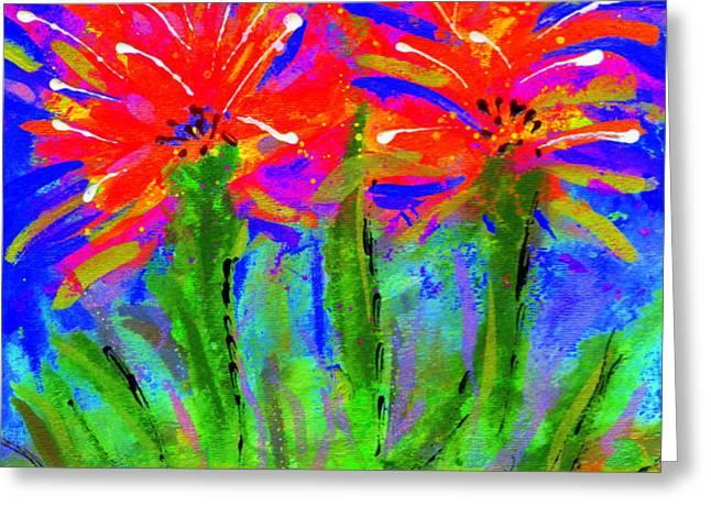 Funky Flower Towers Greeting Card by Angela L Walker