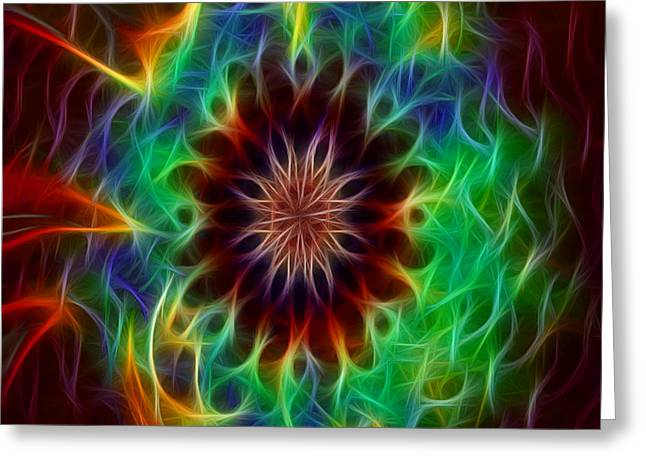 Funky Fractal Kaleidoscope Two Greeting Card by Gina Lee Manley