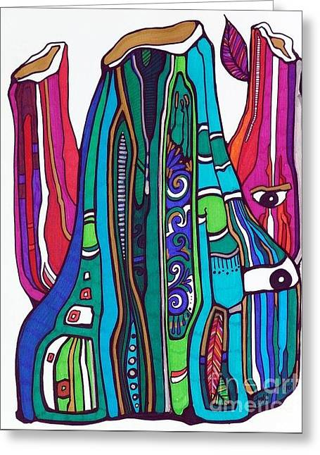 Organic Drawings Greeting Cards - Funky Gus Greeting Card by Tahl  Ghitter