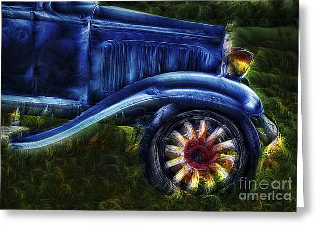 Funky Old Car Greeting Card by Susan Candelario
