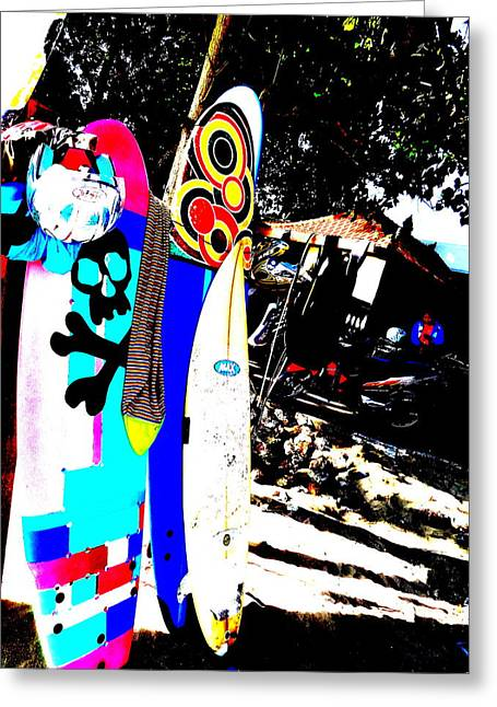 Abstract Digital Photographs Greeting Cards - Funky Surf Boards in Seminyak Greeting Card by Funkpix Photo Hunter