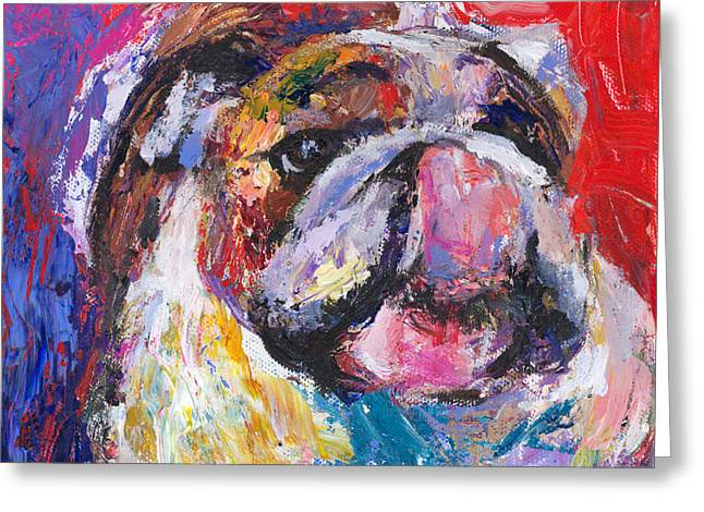 Bulldog Pet Portraits Greeting Cards - Funny Bulldog licking his hose painting Greeting Card by Svetlana Novikova