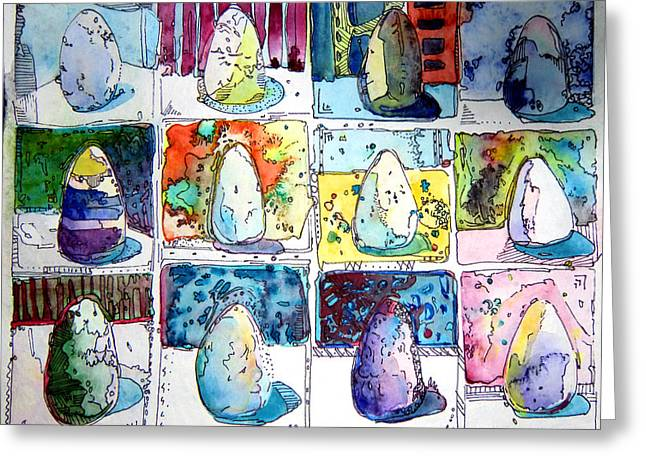 Yellow Line Greeting Cards - Funny Eggs Greeting Card by Mindy Newman