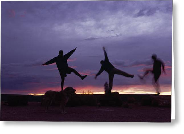 Jogging Greeting Cards - Funny Poses, Yoga And Sunset Greeting Card by Bill Hatcher
