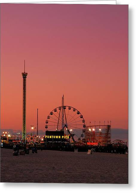 Sunset Posters Greeting Cards - Funtown Pier At Sunset II - Jersey Shore Greeting Card by Angie Tirado