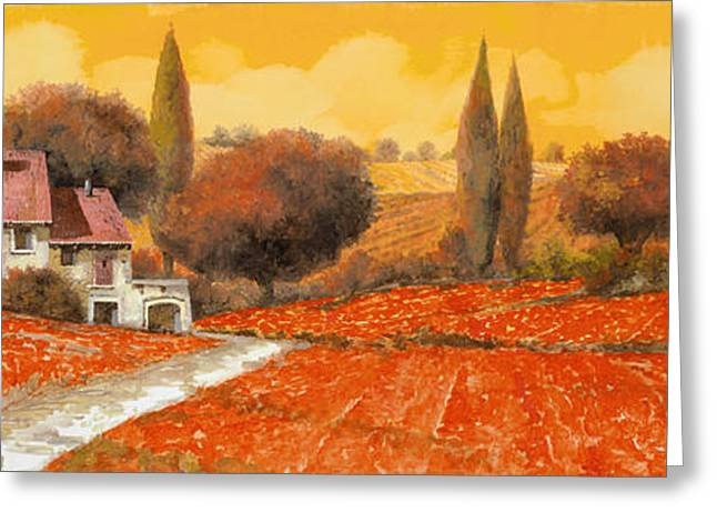 Vineyards Paintings Greeting Cards - fuoco di Toscana Greeting Card by Guido Borelli