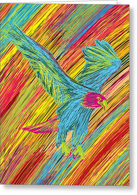 Kenal Louis Paintings Greeting Cards - Furious Bold Bald Eagle Greeting Card by Kenal Louis