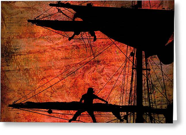 Tall Ship Greeting Cards - Furling Sail Greeting Card by Fred LeBlanc