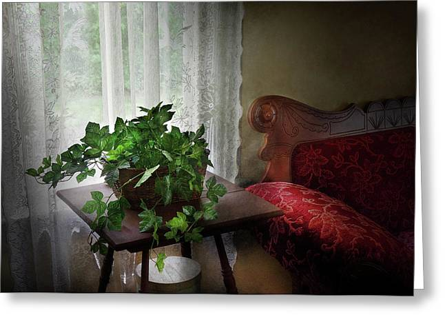 Customizable Greeting Cards - Furniture - Plant - Ivy in a window  Greeting Card by Mike Savad