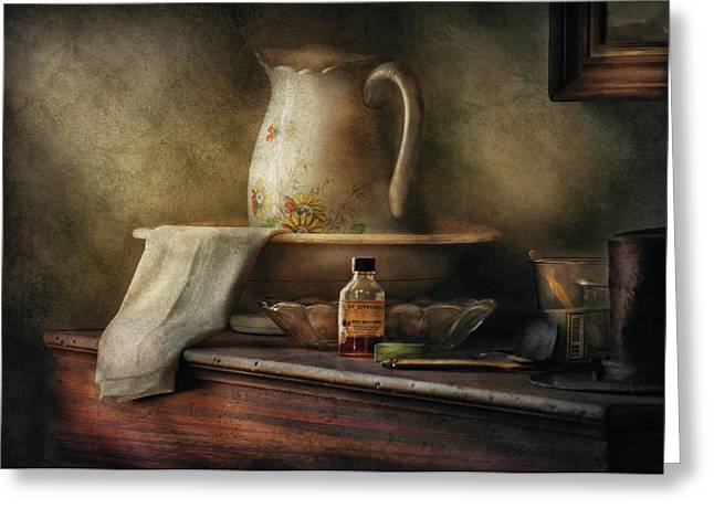 Old Pitcher Greeting Cards - Furniture - Table - The Water Pitcher Greeting Card by Mike Savad