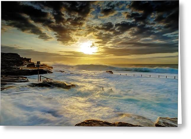 Seascape With Clouds Greeting Cards - Fury at Maroubra Greeting Card by Mark Lucey