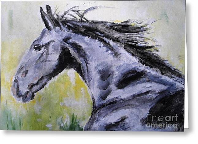 Race Horses Greeting Cards - Fury Greeting Card by Judy Kay