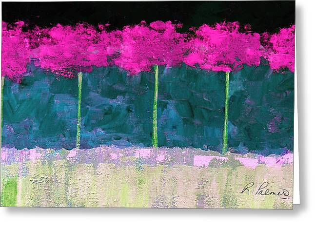 Purple Abstract Beige Greeting Cards - Fuschia Trees Greeting Card by Ruth Palmer