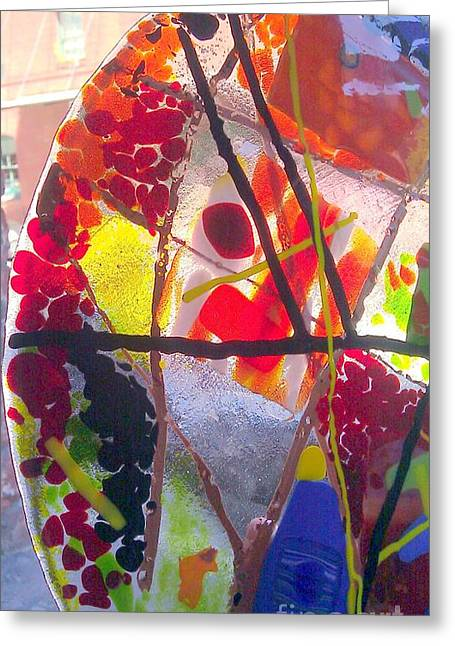 Fused Glass Art Greeting Cards - Fused Glass Hand Made Lamp Shades Greeting Card by Laura Miller