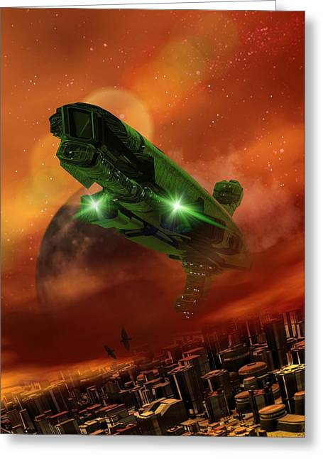 Sci-fi City Greeting Cards - Future Civilisation, Artwork Greeting Card by Victor Habbick Visions
