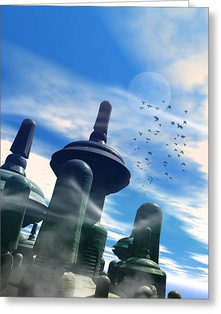 Science Fiction Greeting Cards - Future Earth Cityscape, Artwork Greeting Card by Victor Habbick Visions