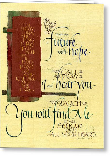 Scripture Mixed Media Greeting Cards - Future Hope I Greeting Card by Judy Dodds