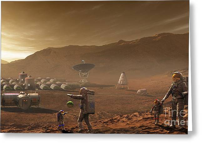 Bonding Digital Art Greeting Cards - Future Mars Colonists Playing Greeting Card by Steven Hobbs