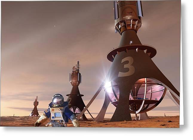Human Survival Greeting Cards - Future Mars Exploration, Artwork Greeting Card by Detlev Van Ravenswaay