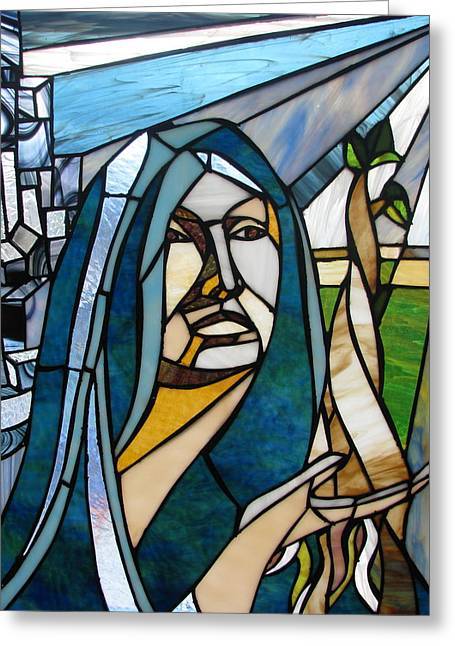 Virgin Glass Art Greeting Cards - Future Mary Greeting Card by Alicia  LaRue