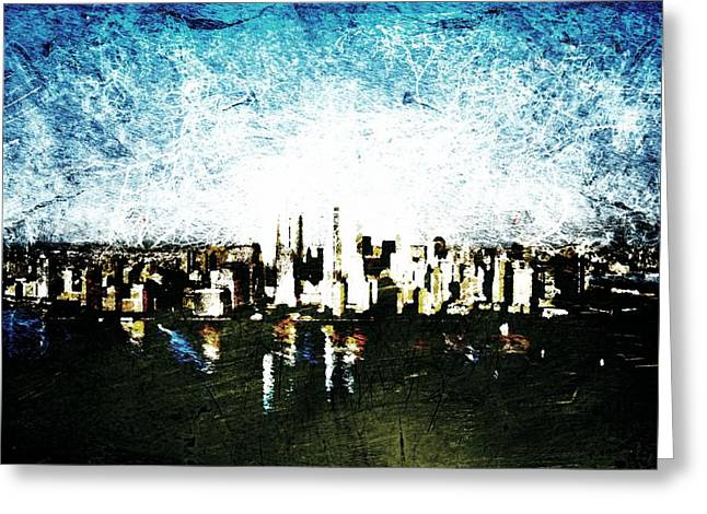 Times Square Digital Greeting Cards - Future Skyline Greeting Card by Andrea Barbieri