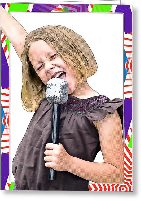Future Star Sing It Girl Greeting Card by Susan Leggett