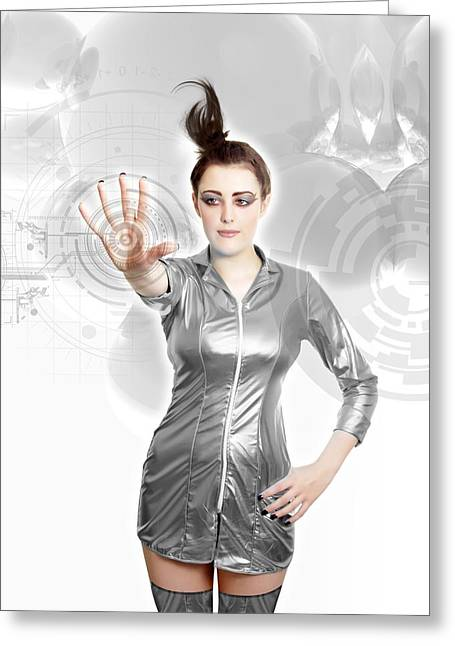 Silver Dress Greeting Cards - Future Technology, Conceptual Image Greeting Card by Victor Habbick Visions