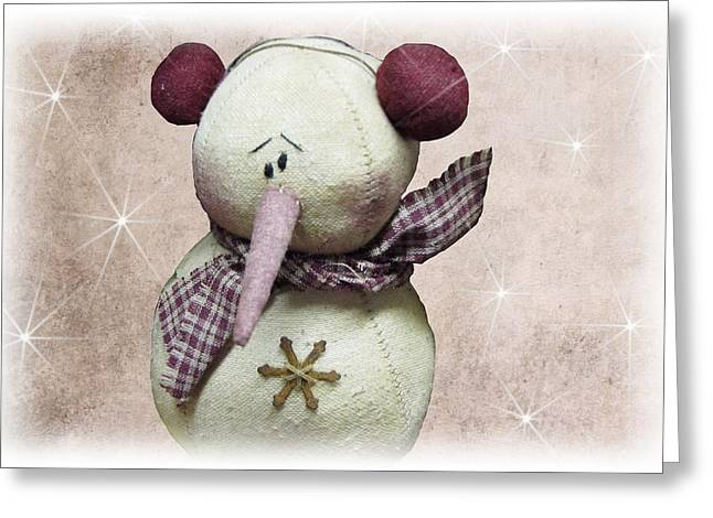 Dehner Greeting Cards - Fuzzy the Snowman Greeting Card by David Dehner