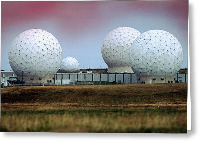 Fylingdales Long-range Radar Station, Uk Greeting Card by Vaughan Fleming