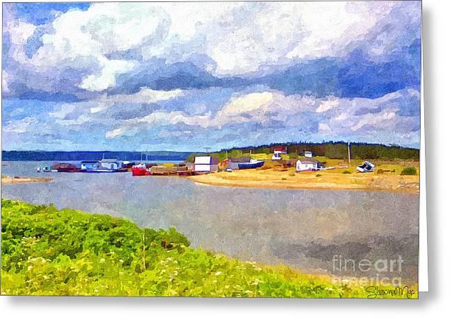 Fascinated Digital Art Greeting Cards - Gabarus Cape Breton Nova Scotia Fishing Village Greeting Card by Shawna Mac