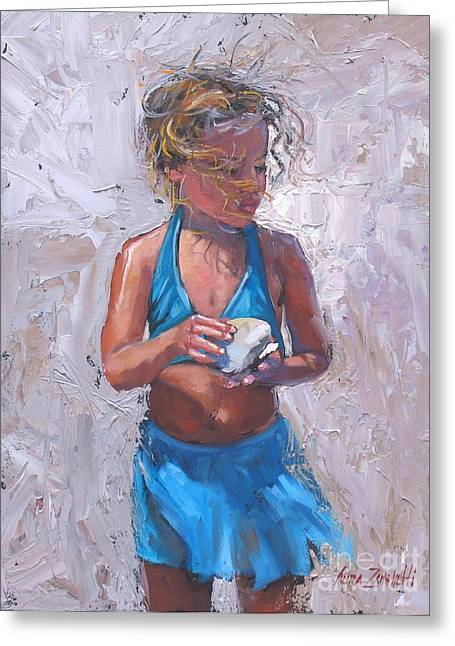 Pallet Knife Greeting Cards - Gabby Greeting Card by Laura Lee Zanghetti