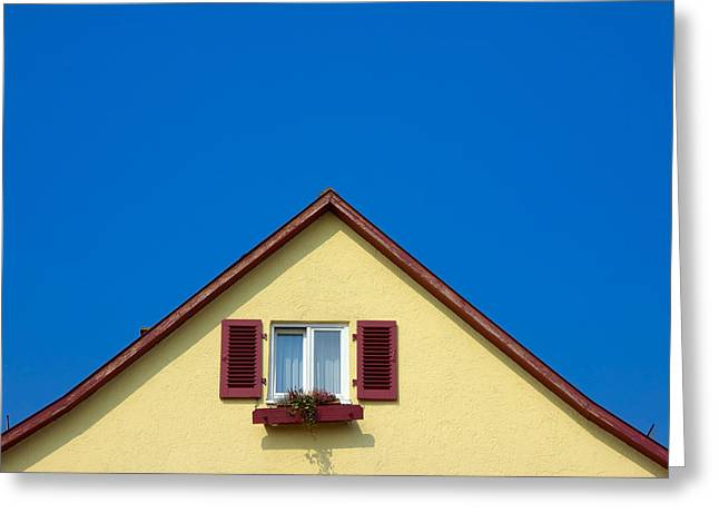 House Gable Greeting Cards - Gable of beautiful house in front of blue sky Greeting Card by Matthias Hauser