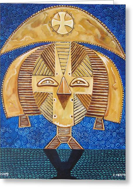 Multi Cultural Greeting Cards - Gabon Mask - A Multi-Cultural Celebration Greeting Card by John Keaton