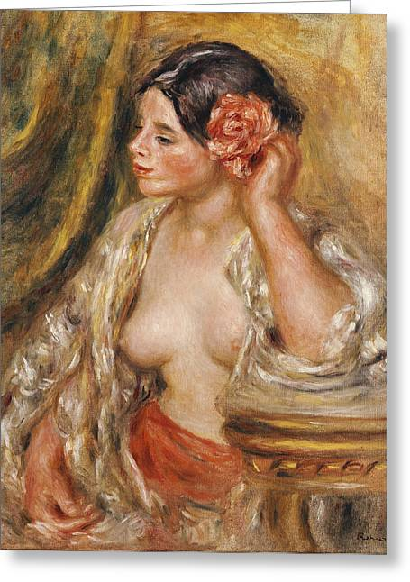Table-cloth Greeting Cards - Gabrielle a sa Coiffure Greeting Card by Pierre Auguste Renoir