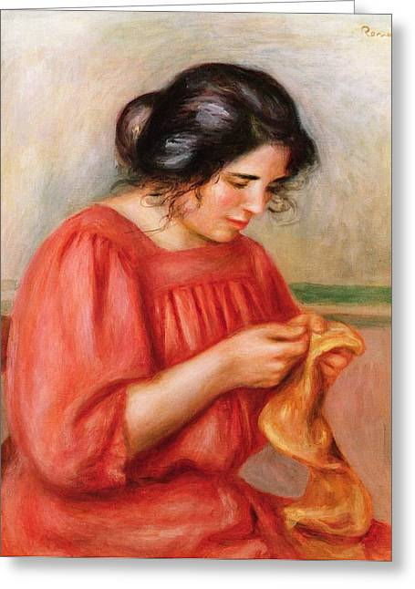 Gabrielle Greeting Cards - Gabrielle Darning Greeting Card by Pierre Auguste Renoir