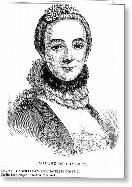 Decolletage Greeting Cards - Gabrielle-emilie Chatelet Greeting Card by Granger