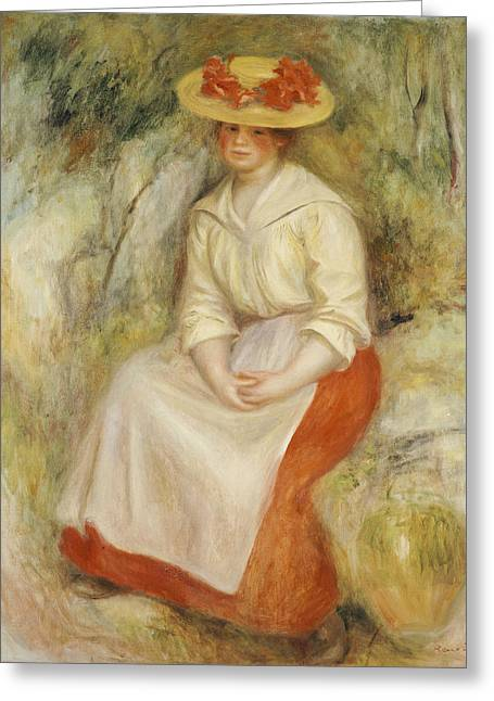 Full Skirt Greeting Cards - Gabrielle in a Straw Hat Greeting Card by Pierre Auguste Renoir