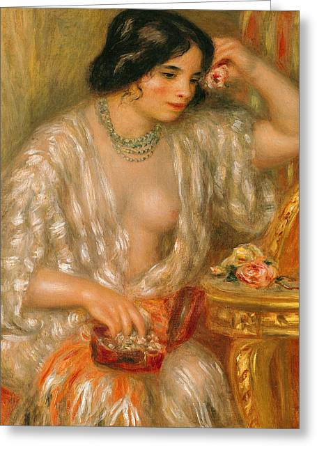 Jewellery Greeting Cards - Gabrielle with Jewellery Greeting Card by Pierre Auguste Renoir