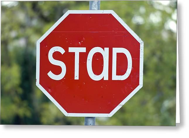 Gaelic Stop Sign Near Doocharry Greeting Card by Rich Reid