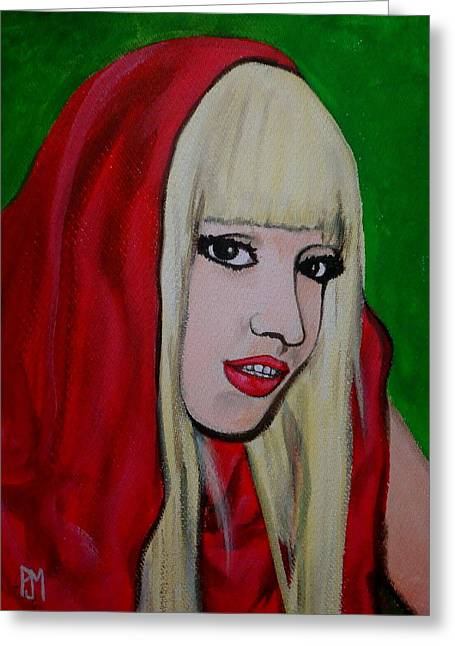 Lady Gaga Paintings Greeting Cards - Gaga Hood Greeting Card by Pete Maier