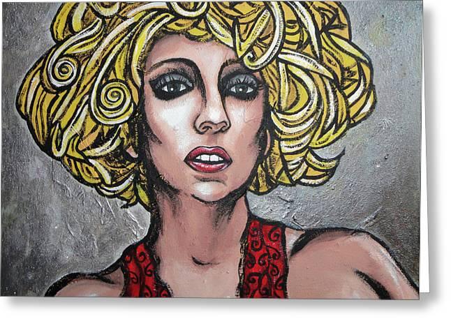 Lady Gaga Paintings Greeting Cards - Gaga Greeting Card by Sarah Crumpler